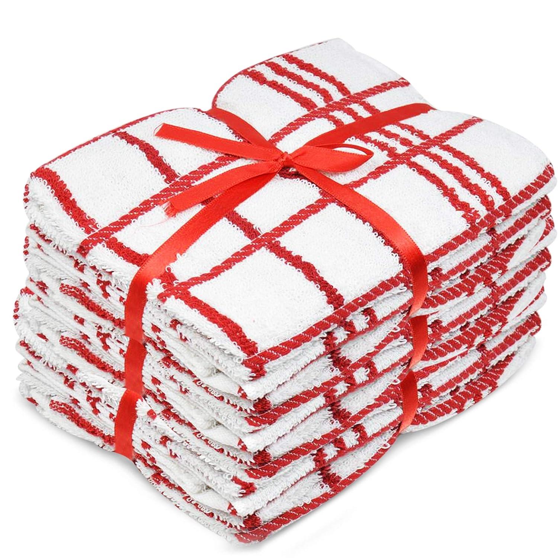 5 Pack Red and White Terry Tea Towel Sabichi