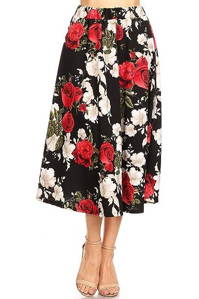 aa0e18b0b3 Regular Plus Size Pattern Print High Waist A-line Pleat Midi Skirt/Made in