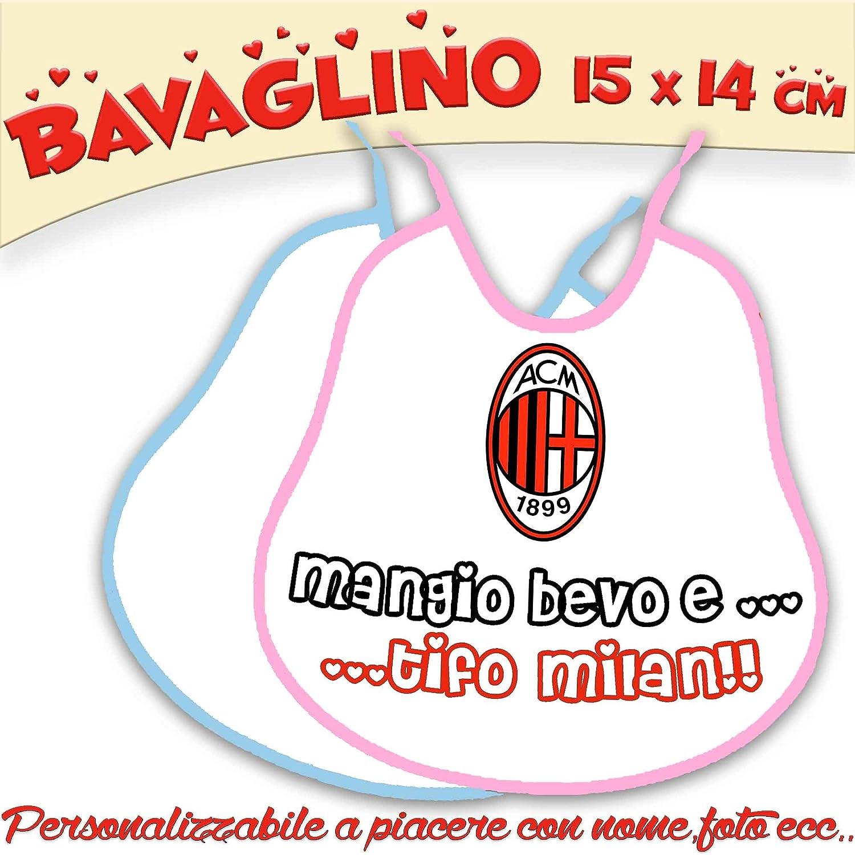 Bavaglino Bavetta Bambino/a personalizzato con nome foto Collezione Calcio Milan csm informatica