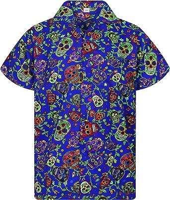 Original King Kameha   Funky Camisa Hawaiana Señores   XS-12XL  Manga Corta Bolsillo Delantero   impresión De Hawaii  Skull: Amazon.es: Ropa y accesorios