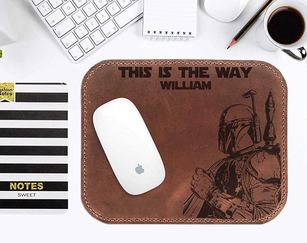 Gift for Him Mandalorian Boba Fett Mouse Pad This is the Way Star Wars Leather Mouse Mat For Men Handmade Leather Mouse Pad Personalized Mens Gift s3 Boyfriend Gift Husband Gift