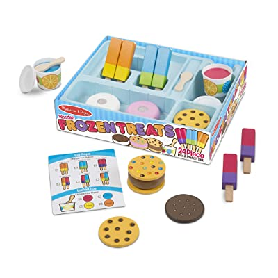 Melissa & Doug Wooden Frozen Treats Ice Cream Play Set (24 pcs) - Play Food and Accessories: Toy: Toys & Games
