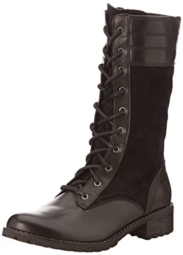 Timberland Women's Bethel Heights Mid Zip Lace Up Boot, Black EurovegSuede,