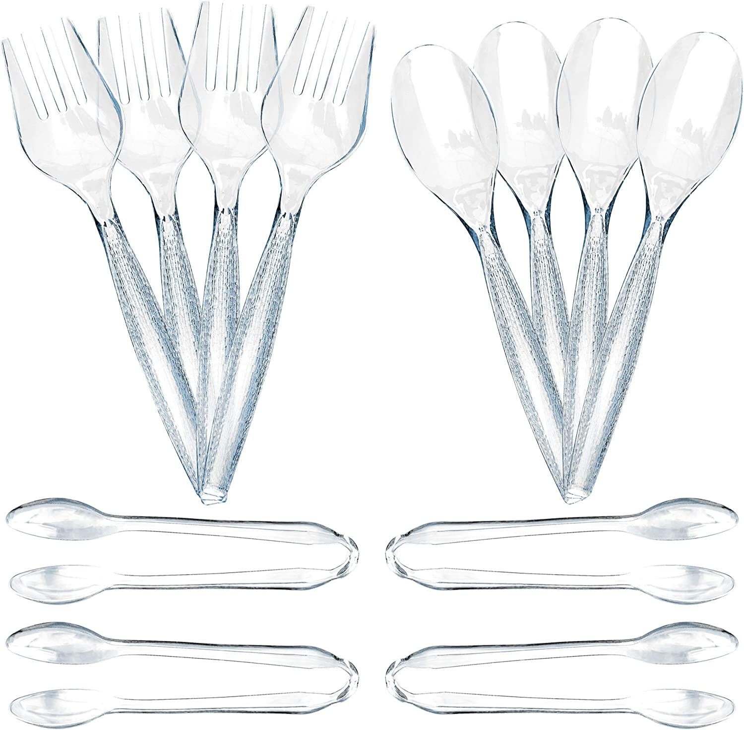 12 Piece Plastic Serving Utensils Set | Clear Disposable Serving Utensils | 4 Serving Spoons, 4 Serving Forks, 4 Serving Tongs | Party Serving Spoon Set