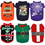 6 Pieces Halloween Dog Shirts and Christmas Dog Clothes Printed Puppy Shirts Pet Santa Elf Costume Holiday Dog Outfits Breath