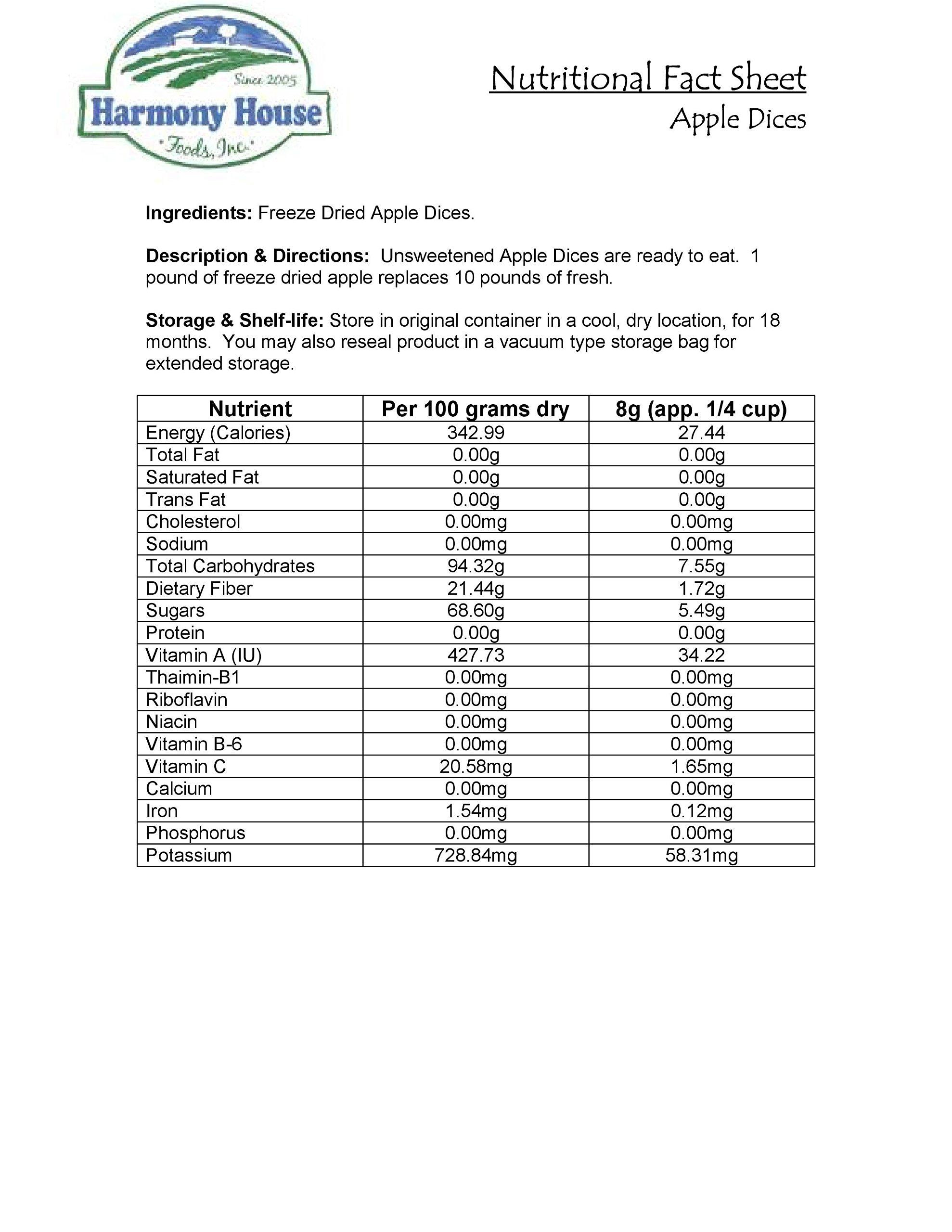 Harmony House Foods Freeze Dried Apples, Diced (20 lb Bulk Box)