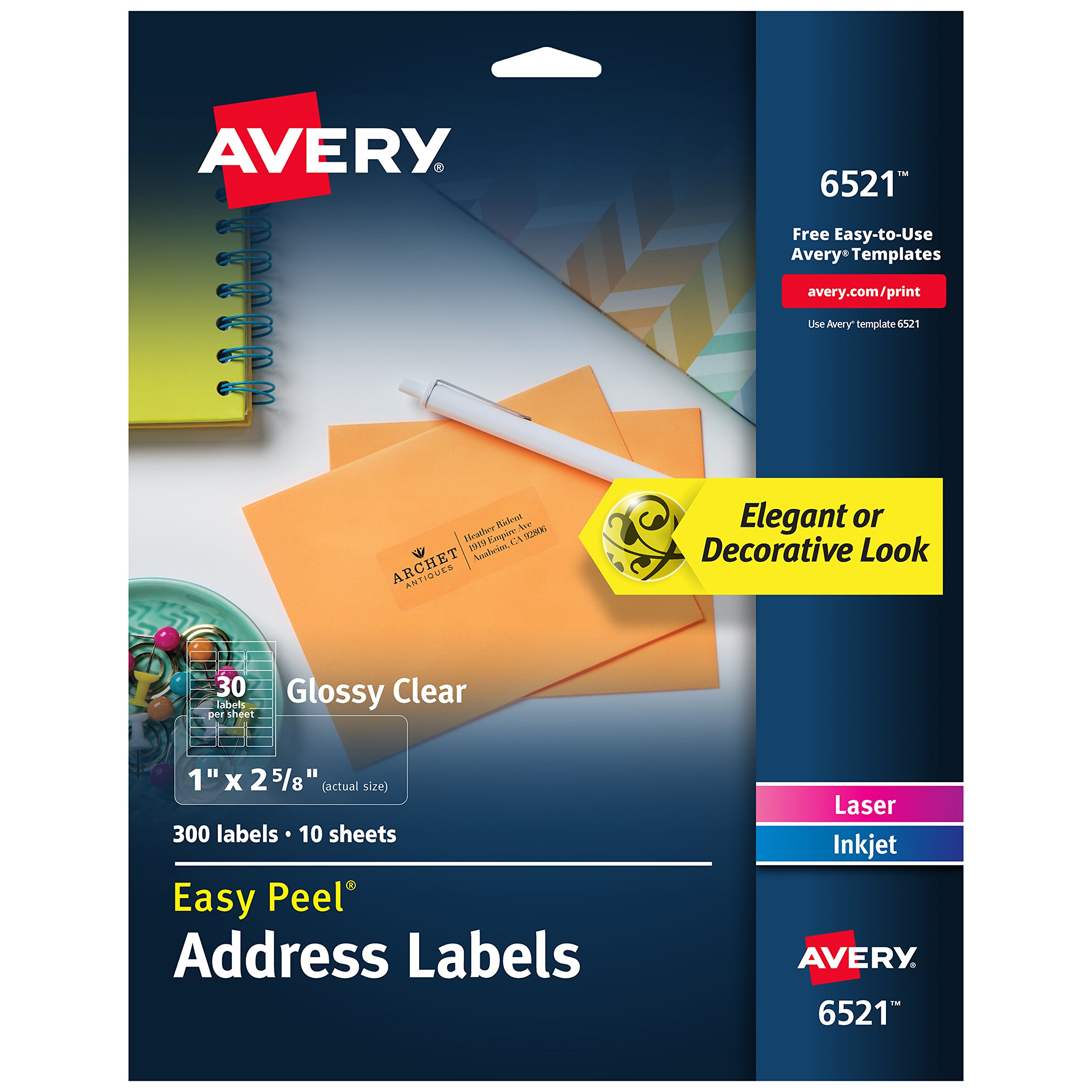 Avery Glossy Crystal Clear Address Labels for Laser & Inkjet Printers, 1'' x 2-5/8'', 300 Labels (6521)
