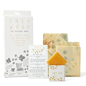 ENEY Premium Organic Beeswax Wraps | Jungle Print | Eco-Friendly Reusable Food Wrap | Plastic Alternative | Extra Large Set 1 Large, 1 Medium, 1 Small, 1 Wooden Button Tie and Wax Replenisher