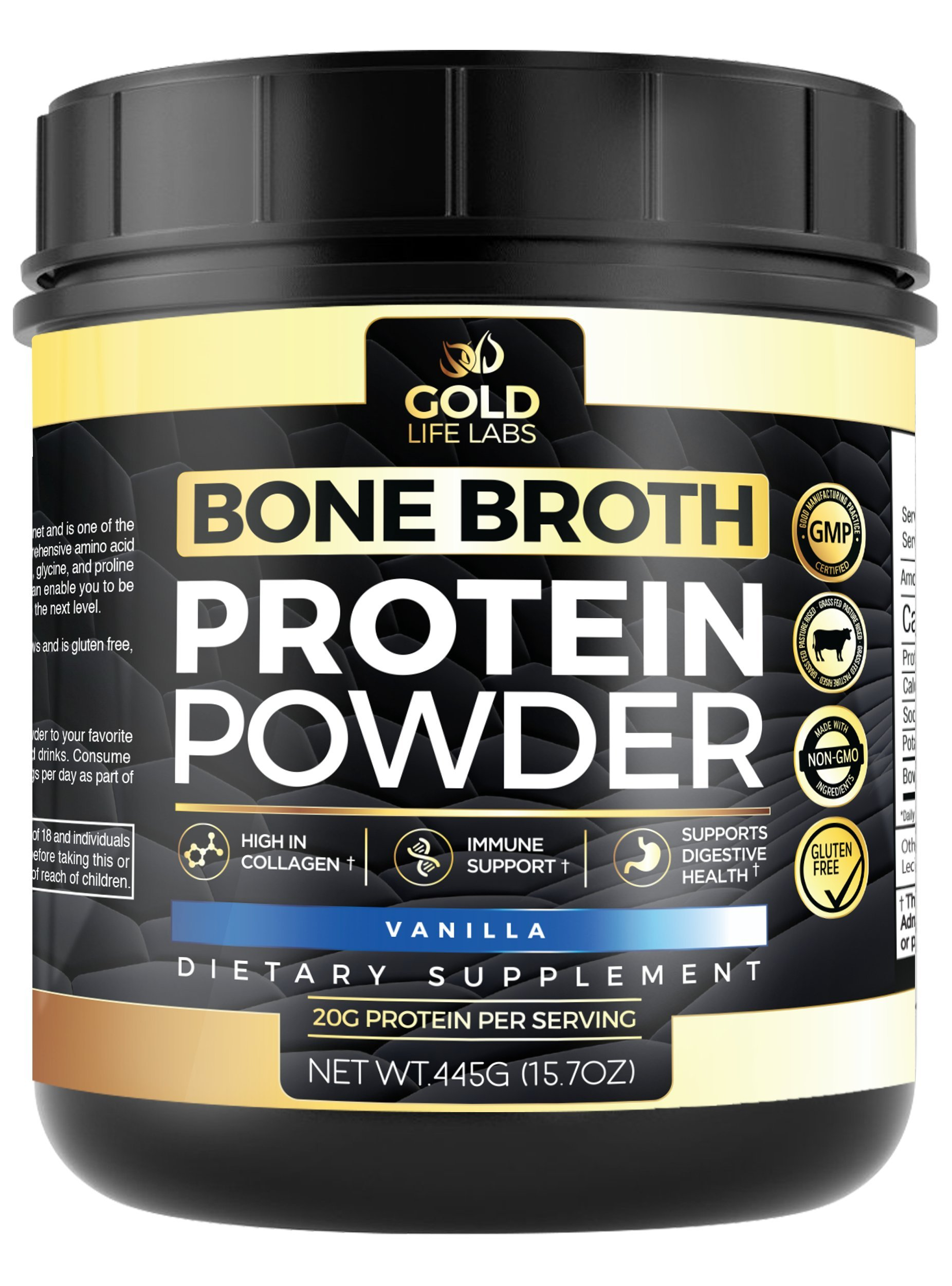 Bone Broth Protein Powder Vanilla - Grass Fed Beef 20 Servings 445g/15.7oz - Gluten Free & Great For Paleo Diet - Bone Broth Powder Supports Digestive & Immune Health - Made In USA by Gold Life Labs