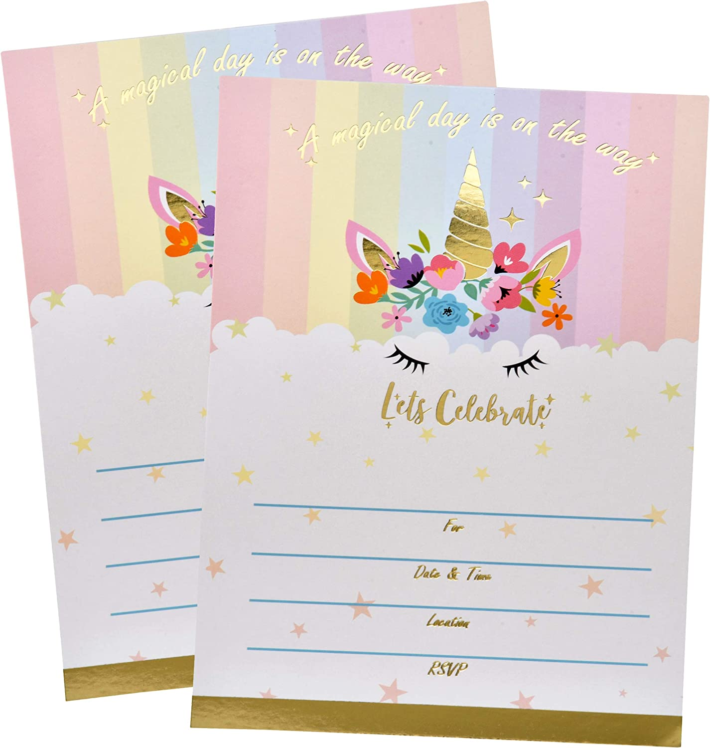 Unicorn Invitations for 30 Guests and Up