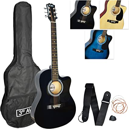 3rd Avenue 4 4 Full Size Cutaway Acoustic Guitar Pack For Beginners With 6 Months Free Lessons Bag Strap Picks And Spare Strings Black Amazon Co Uk Musical Instruments