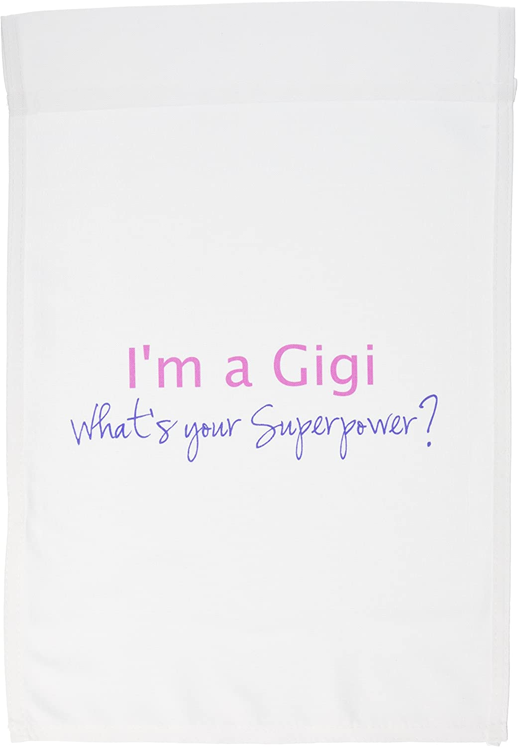3dRose fl_193732_1 I'm a Gigi Whats Your Superpower Hot Pink Funny Gift for Grandma Garden Flag, 12 by 18-Inch