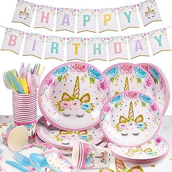 Yosemy Vajilla Diseño de Unicornio Desechable, 114pcs/16 Set Accesorio de Decoración de Fiesta de Cumpleaños Utensilios para Celebración–Pancarta, ...