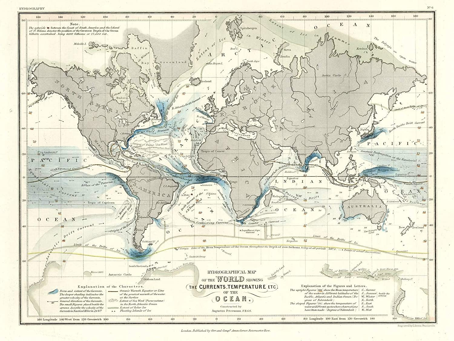 Amazon Com Historic Map Hydrographical Map Of The World Showing