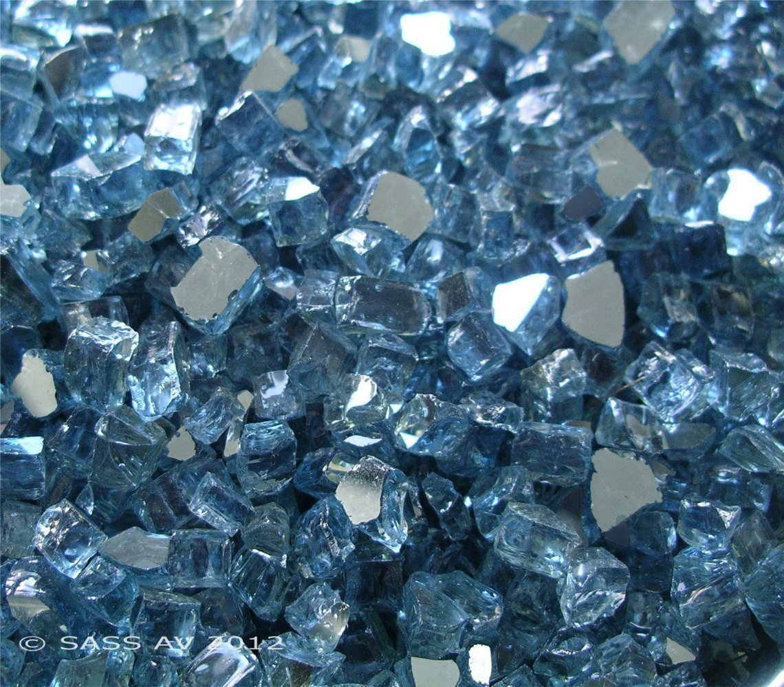 Fireglass Fireplace Fire Pit Glass, ~1/4'' Pacific Blue Reflective L, 42 LBS