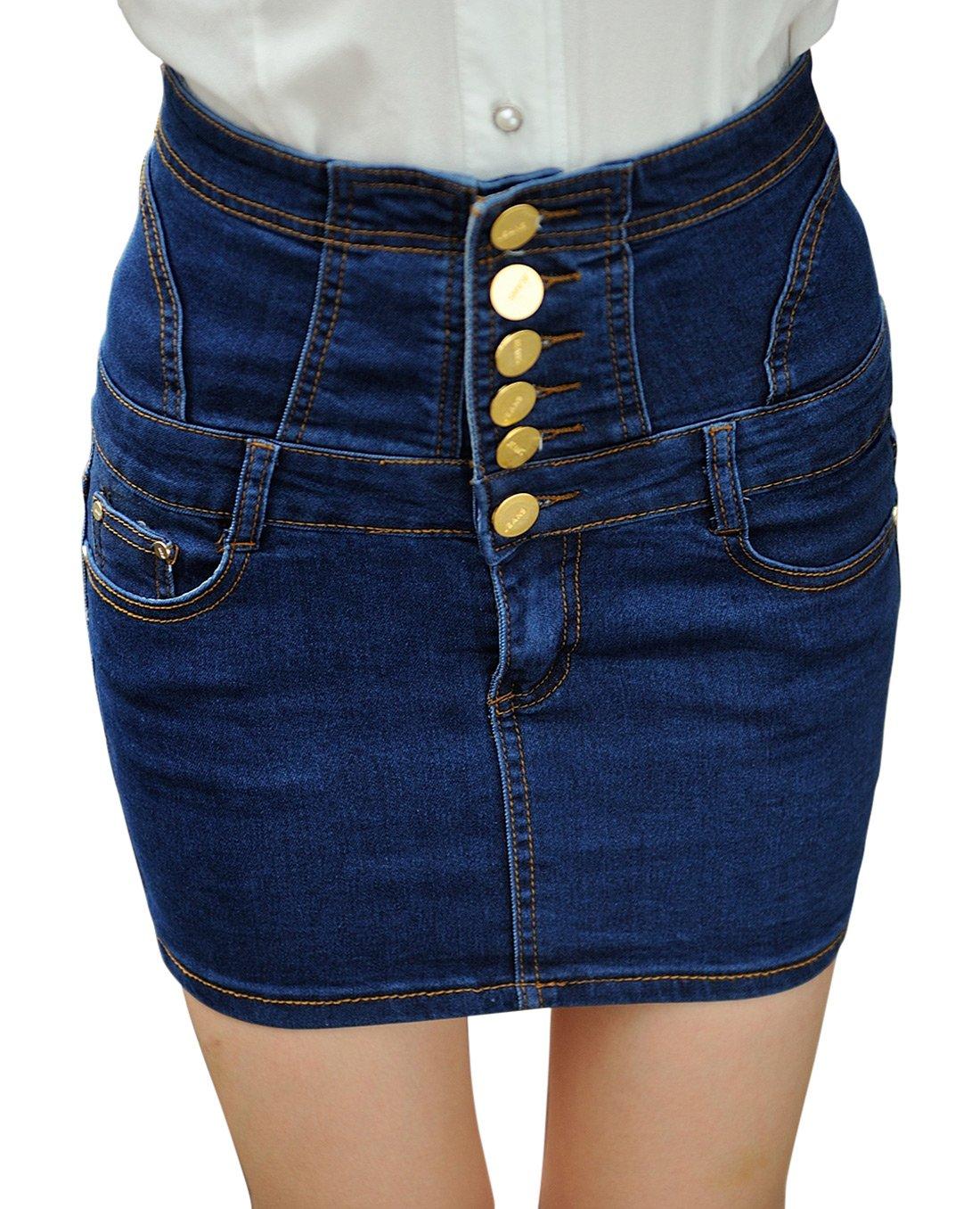 Chouyatou Women's Casual Short Denim Skirt (Medium, H76-Blue)