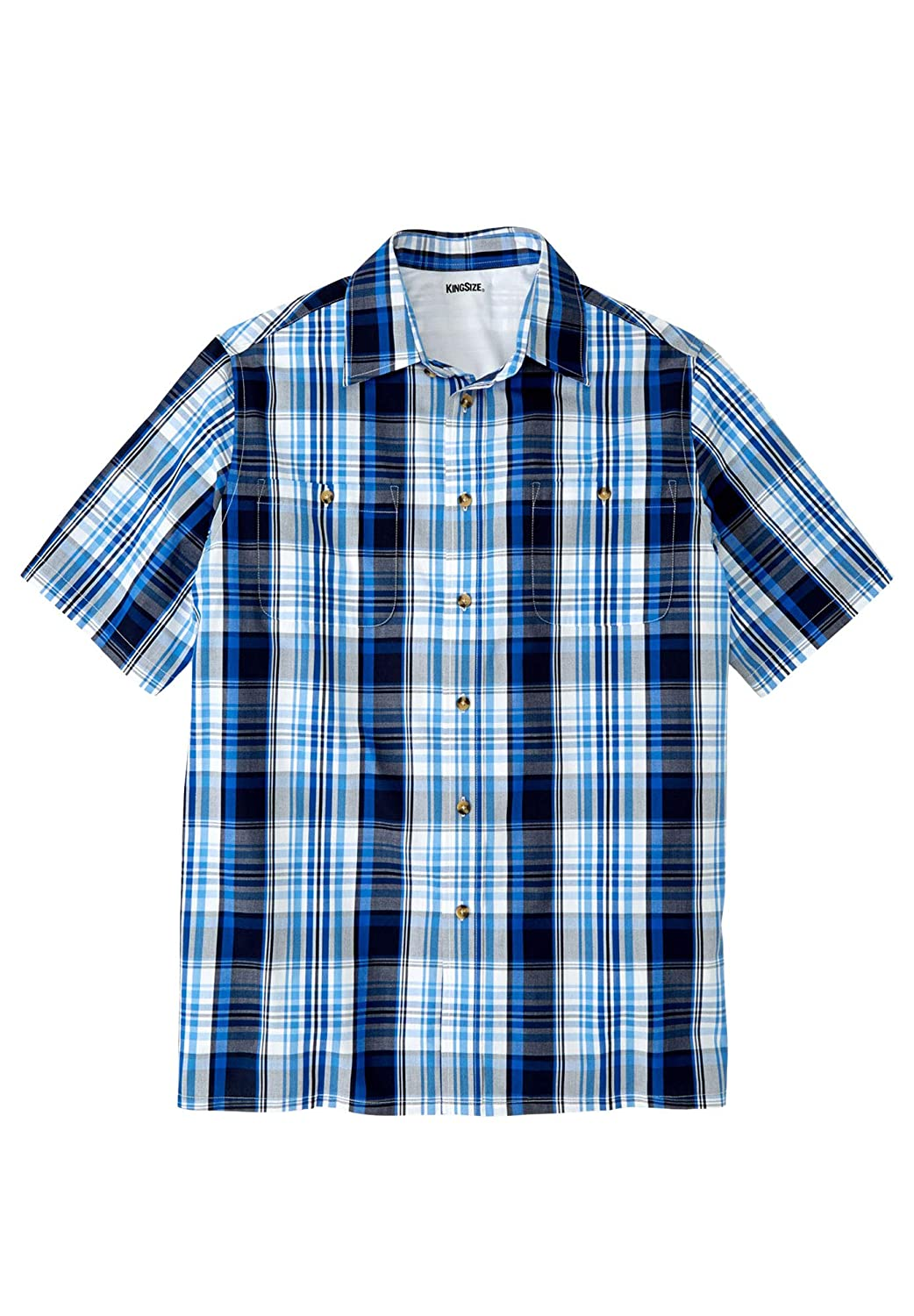 KingSize Mens Big /& Tall Short-Sleeve Plaid Sport Shirt