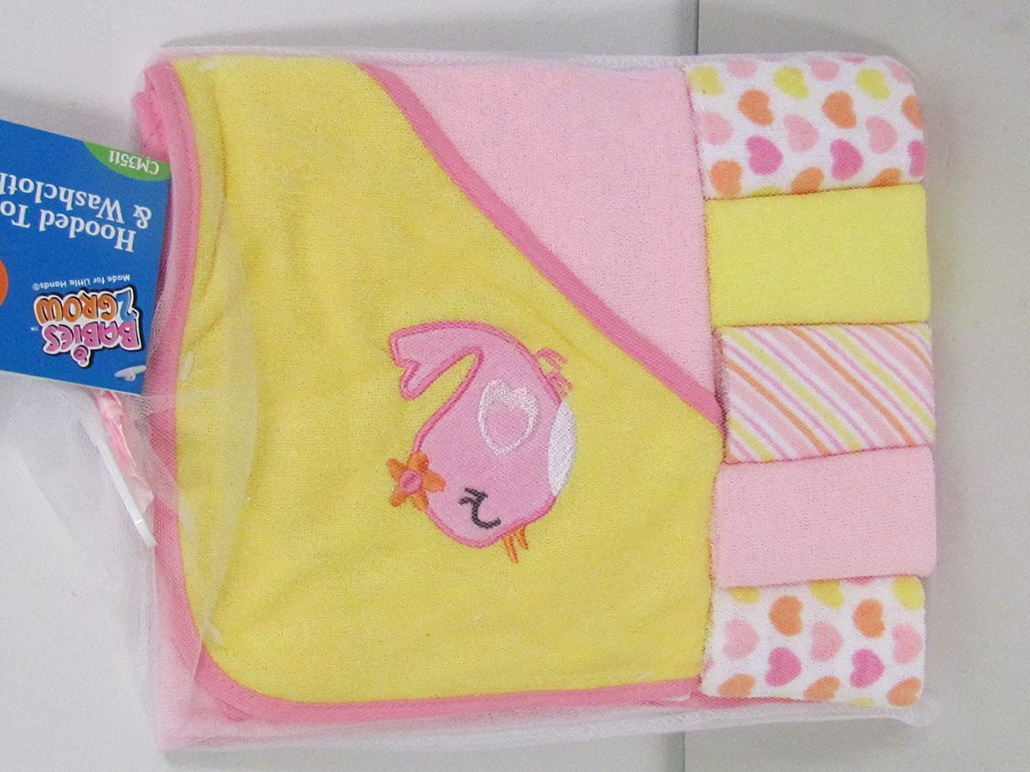 Regent Baby Crib Mates Hooded Towel with 5 Wash Cloths Blue//Pink
