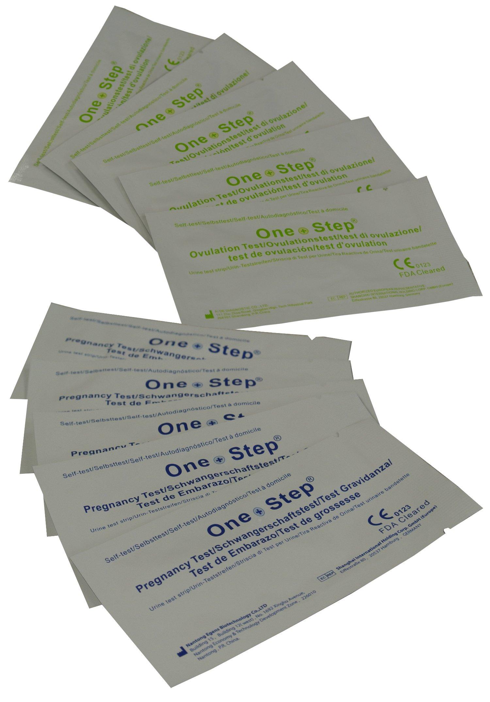 One Step 100 x Ovulation Test Strips 20mIU Fertility Tests + 20 x 10mIU Pregnancy Test Strips