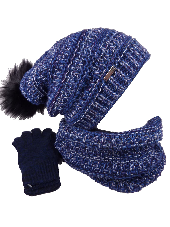 TEA 3 teiliges Damen Winterset Schal Mütze Handschuhe