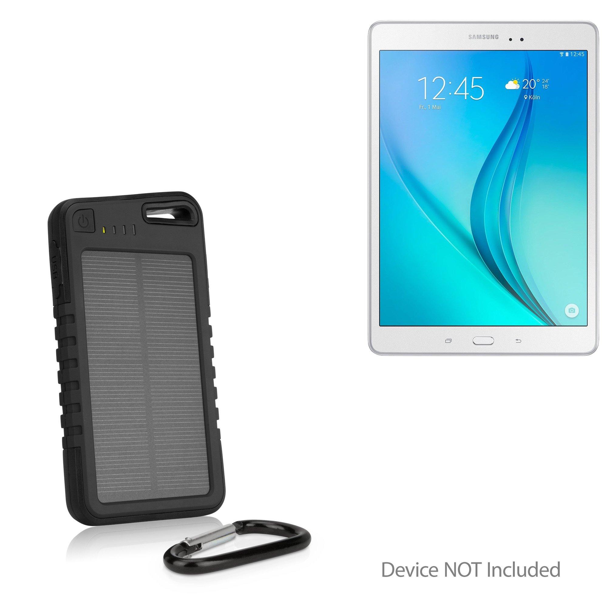 Samsung Galaxy Tab E (8.0) Battery, BoxWave [Solar Rejuva PowerPack (5000mAh)] Solar Powered Backup Power Bank for Samsung Galaxy Tab E (8.0) - Jet Black