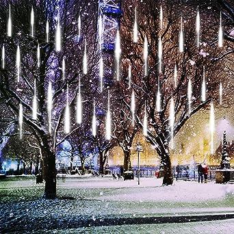 KINGCOO 360LED Tubo de Luces Solar Luces Jardín, Impermeable Guirnalda de Luzs Meteoros Manguera de Luces Decorativas Cadena con 30cm 10 Tubos para Vacaciones Fiesta Navidad Árbol Navidad (Blanco): Amazon.es: Iluminación