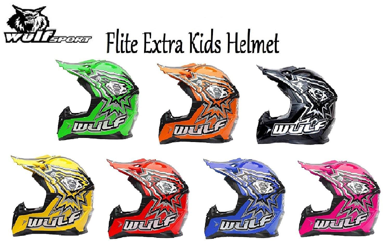 MOTORBIKE WULFSPORT FLITE EXTRA CUB KIDS MX HELMET Motocross Quad Enduro PIT Sport ECE Helmet ((XL), RED)