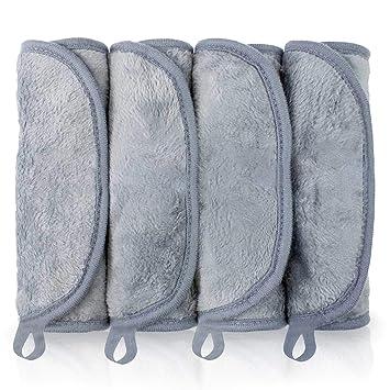 Toallitas Desmaquillantes Microfibra, BUDDYGO 4 Piezas Facial Toalla Desmaquillante, Lavable y Reutilizable, Makeup Remover Cloths, Para limpieza de ...