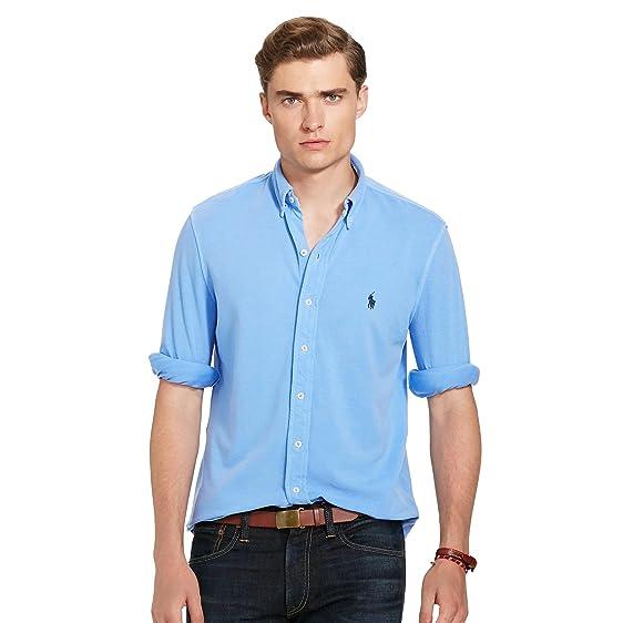 Men\u0027s Polo Ralph Lauren Long Sleeve Featherweight Mesh Collared Shirt ...