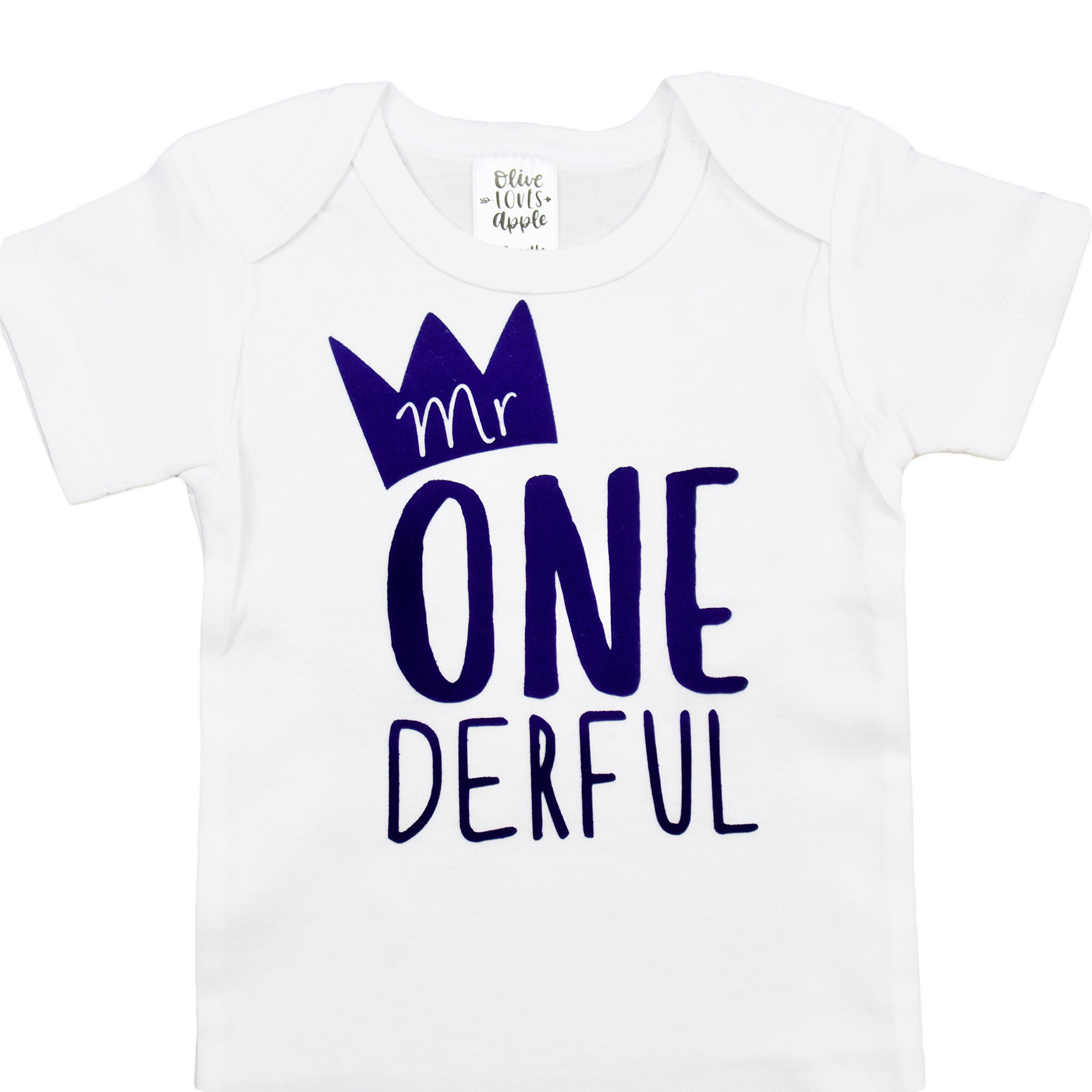 Olive Loves Apple Mr One-Derful Baby Boys 1st Birthday Onesie First Birthday Onesie for Boys Royal Blue