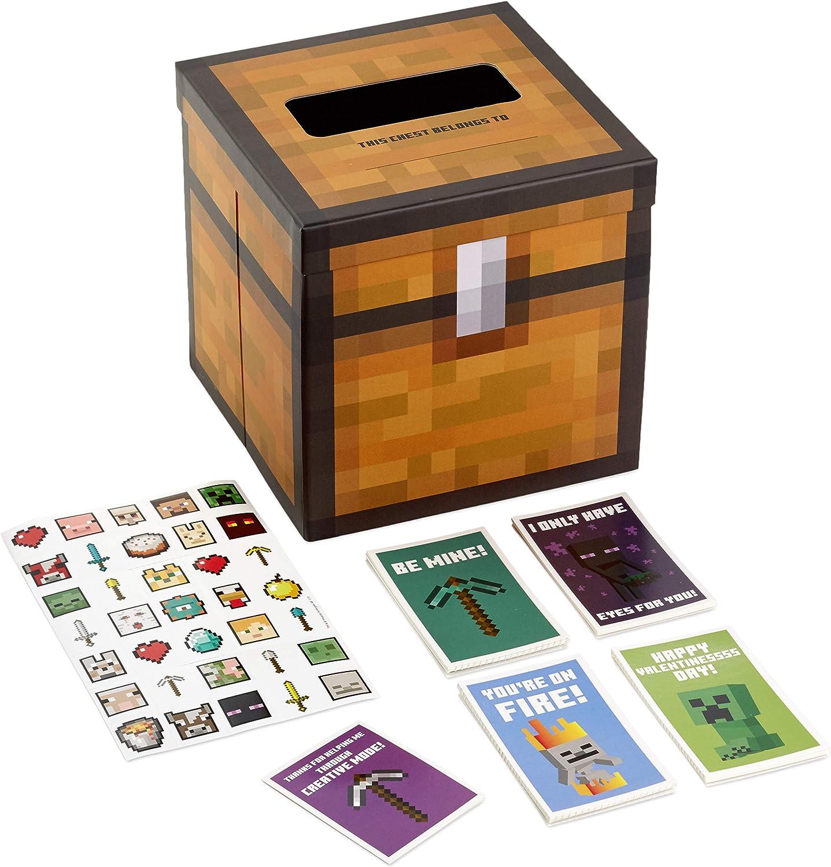 Hallmark Valentines Day Cards for Kids and Mailbox for Classroom Exchange,  Minecraft (1111 Box, 1111 Valentine Cards, 1111 Stickers, 1111 Teacher Card),