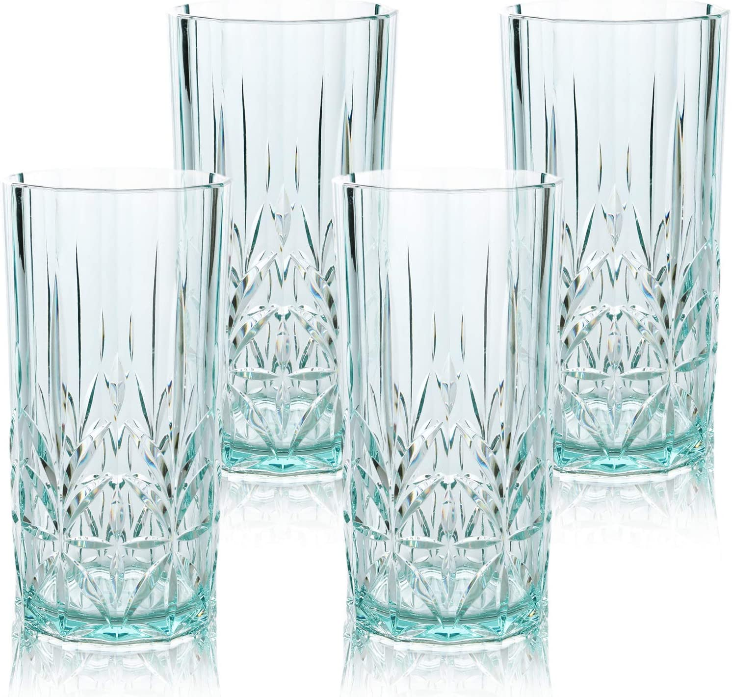 Myrtle Beach Tall Tumbler Teal, 18oz -set of 4, Shatterproof Tritan Drinking Glasses, Dishwasher safe Plastic Tumblers - Unbreakable Glassware for Indoor and Outdoor Use - Reusable Drinkware