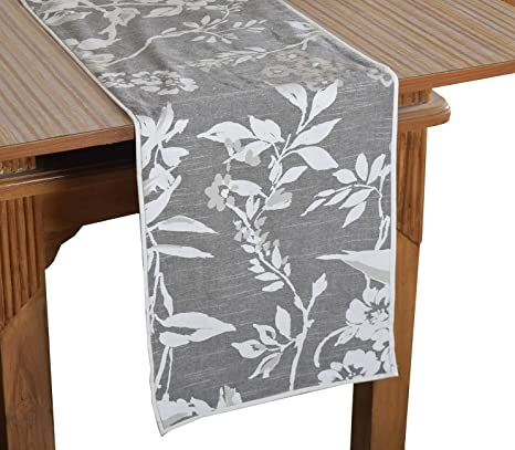Bilberry Furnishing By Preeti Grover 100% Cotton Grey & White Leaf Printed Table Runner (TR_07) - (Table Runner Size 14x72)