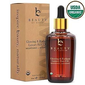 Organic Face Oil - Anti Aging Moringa Leaf Organic Jojoba Oil, Dark Spot Corrector Face Oils and Serums for Face Care, Face Moisturizer Anti Aging, Brightening Oil for Face (1 Bottle)