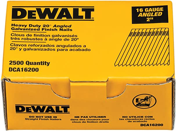 x 15-Gauge Outdoor Use 2-1//2 in 2500-Pieces DEWALT Galvanized Angled Nails