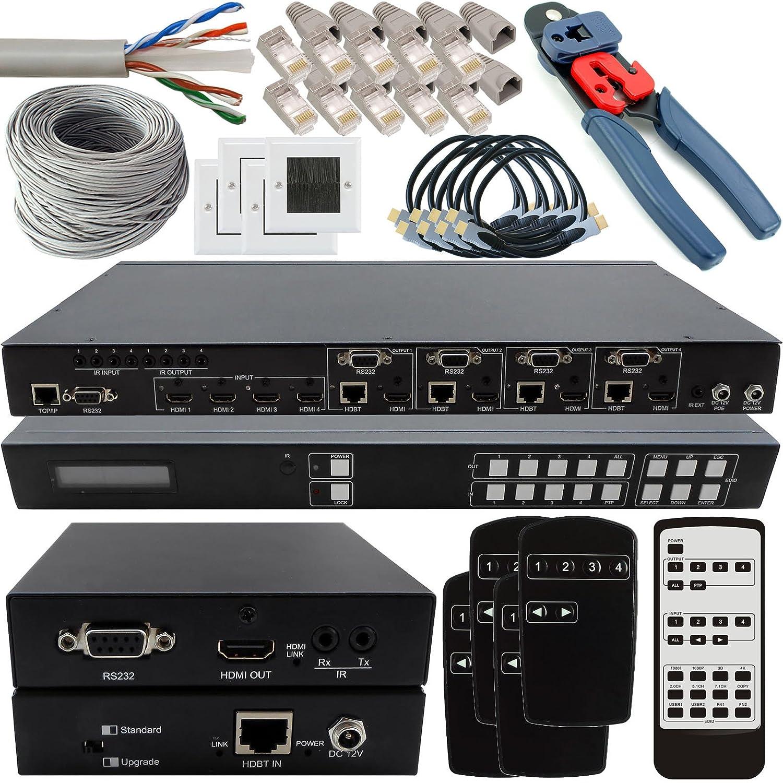4x4 Hdmi Matrix Full Install Kit Hdbaset 3d 4k Ir Details About Cat5e Cat6 Auto Switch Splitter Extender Electronics