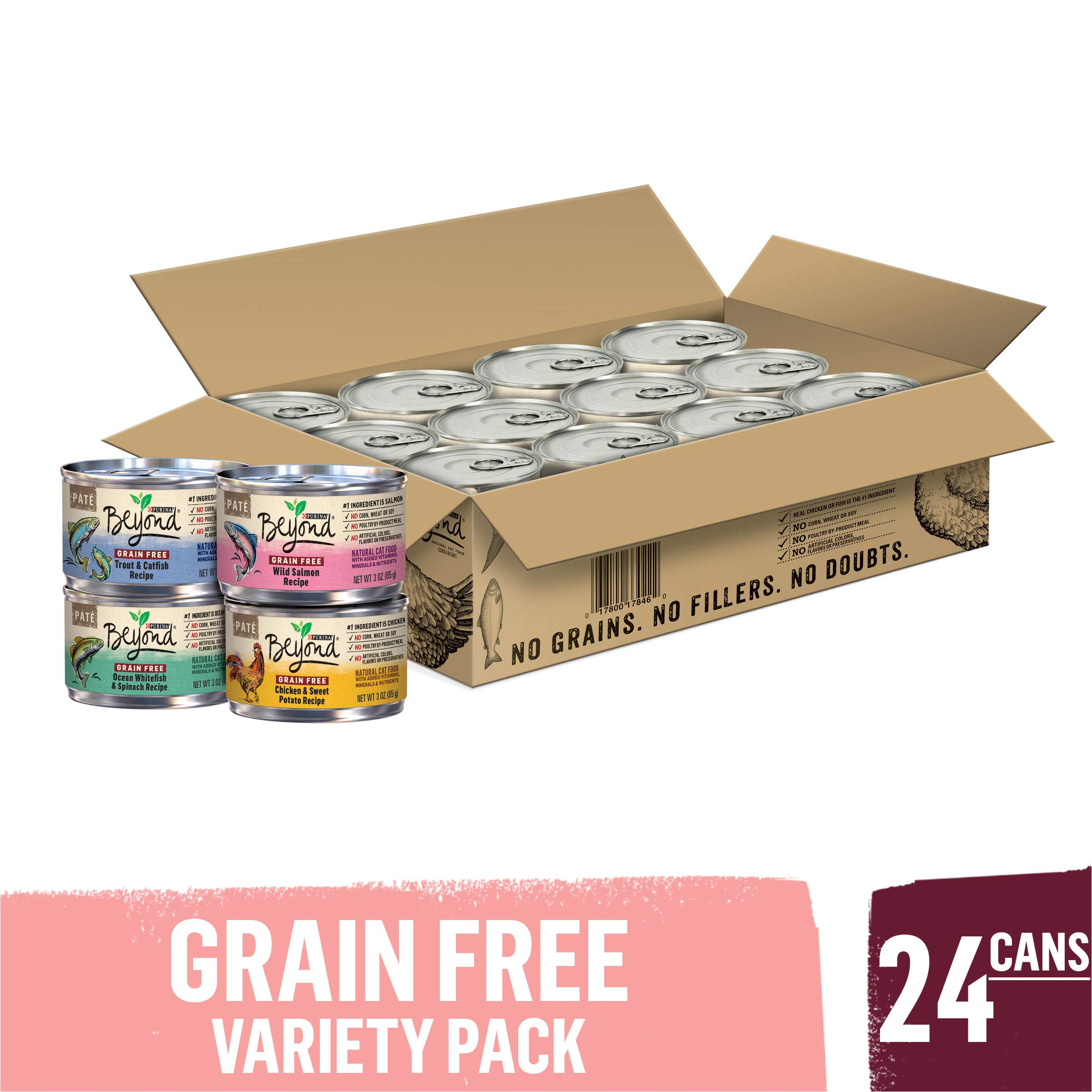 Purina Beyond Grain Free, Natural Pate Wet Cat Food Variety Pack, Grain Free - (24) 3 oz. Cans by Purina Beyond