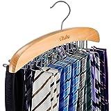 Tie Rack, Tie Organizer, Ohuhu 24 Wooden Twirl Tie Hanger, Closet Organizer and Storage Rack for Ties, Belts, Scarves, Access