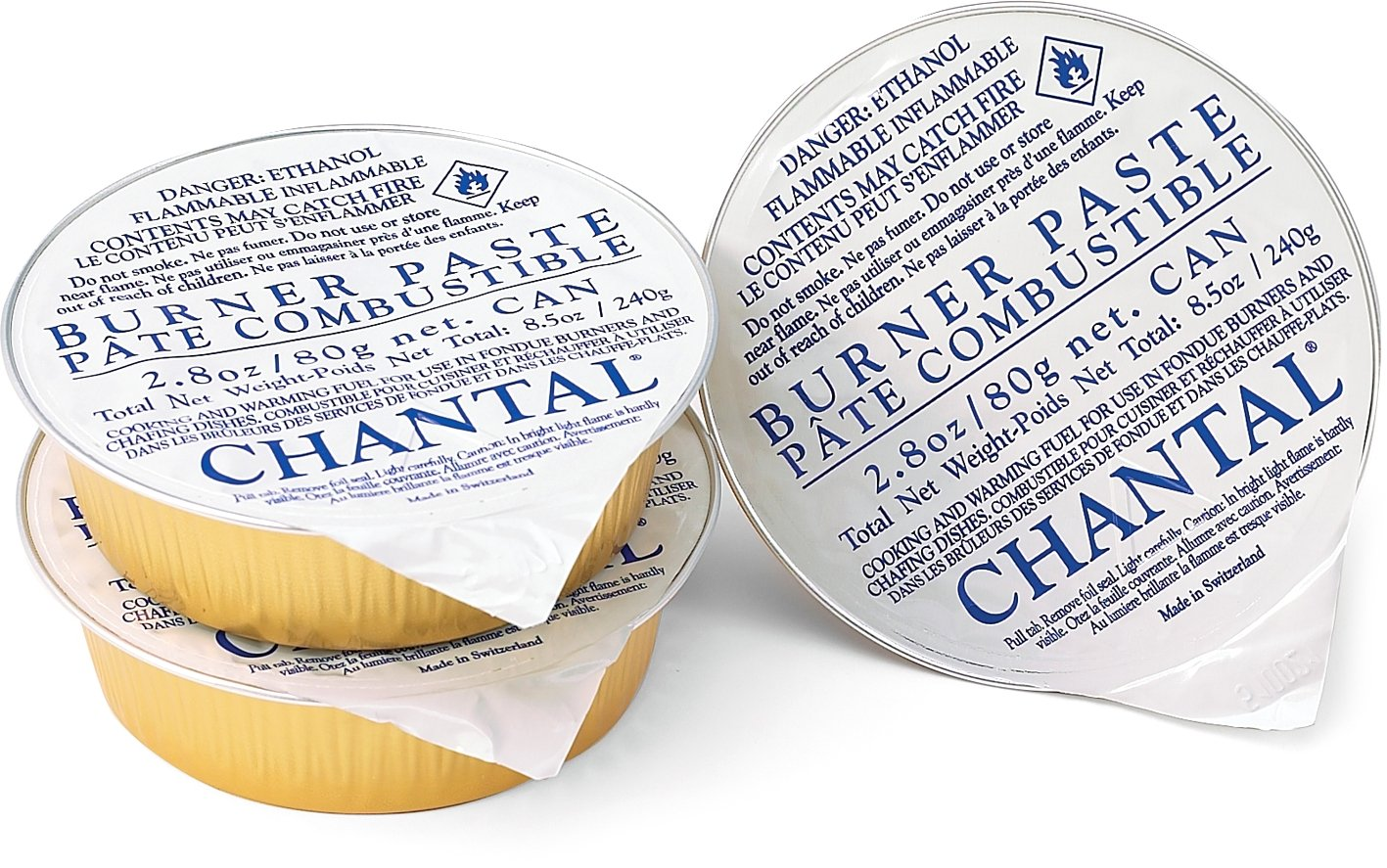 3 Pack Chantal Fondue Y-Burner Paste Fuel