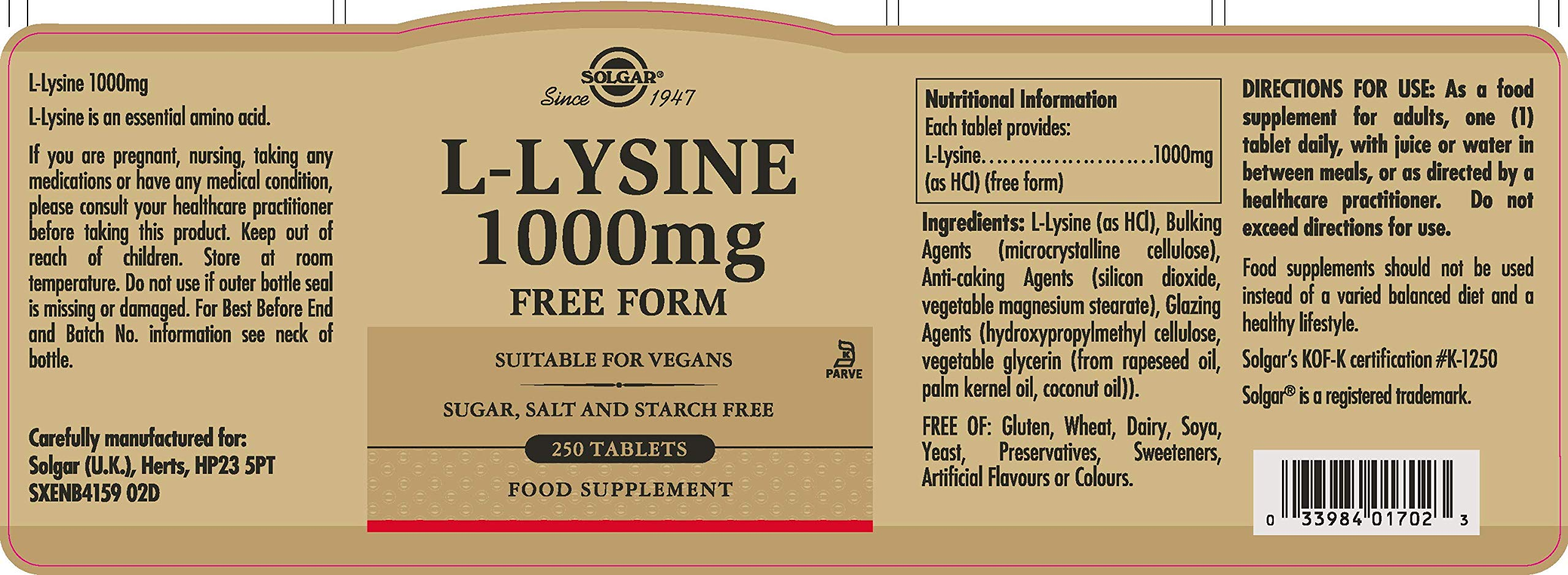 Solgar L Lysine 1000 mg, 250 Tablets