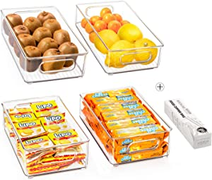 Stackable Refrigerator Organizer Bins, 4 Pack Clear Kitchen Organizer Container Bins with Handles and 20 PCS Free Plastic Bags for Pantry, Cabinets, Shelves, Drawer, Freezer - Food Safe, BPA Free 10