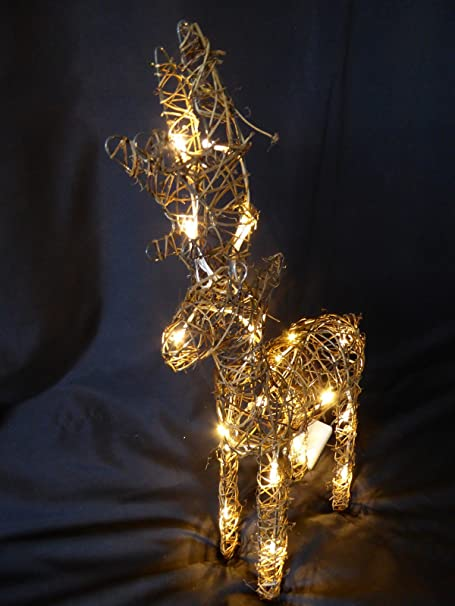 Large light up 60cm 2ft pre lit rustic brown christmas reindeer large light up 60cm 2ft pre lit rustic brown christmas reindeer figure ornament with warm white aloadofball Choice Image