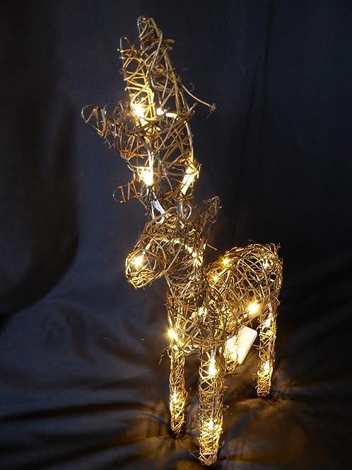 Large Light Up 60cm 2ft Pre Lit Rustic Brown Christmas Reindeer