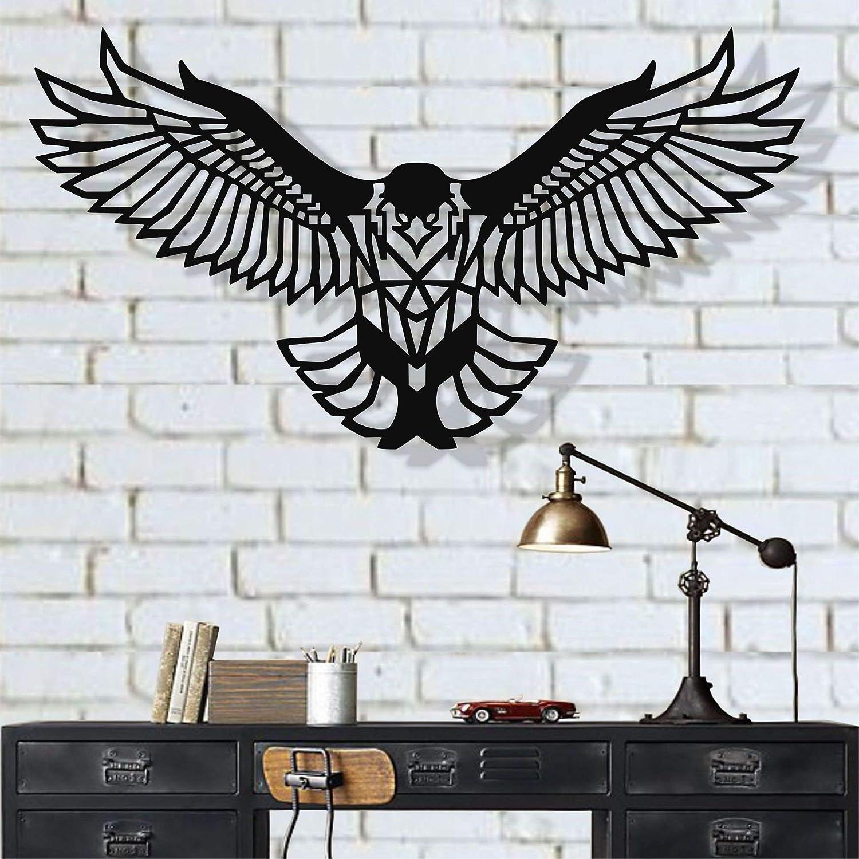 "Birds Metal Wall Art Works - Eagle - 3D Wall Silhouette Metal Wall Decor Home Office Decoration Bedroom Living Room Decor Sculpture Adler - Aigle - Águila (30""W x 15""H/76x38cm)"