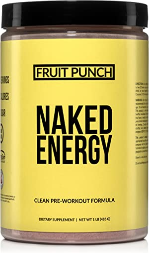 Fruit Punch Naked Energy – Fruit Punch Flavored All Natural Pre Workout Supplement for Men and Women, Vegan Friendly, No Added Sweeteners, Colors or Flavors – 30 Servings