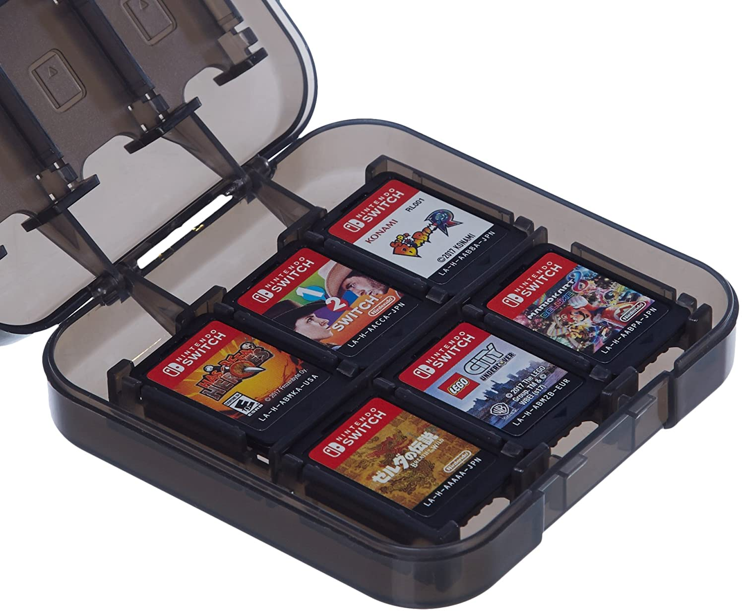 Basics Game Storage Case for 24 Nintendo Switch Games - 3.4 x 3.4 x 1 Inches, Black: Video Games
