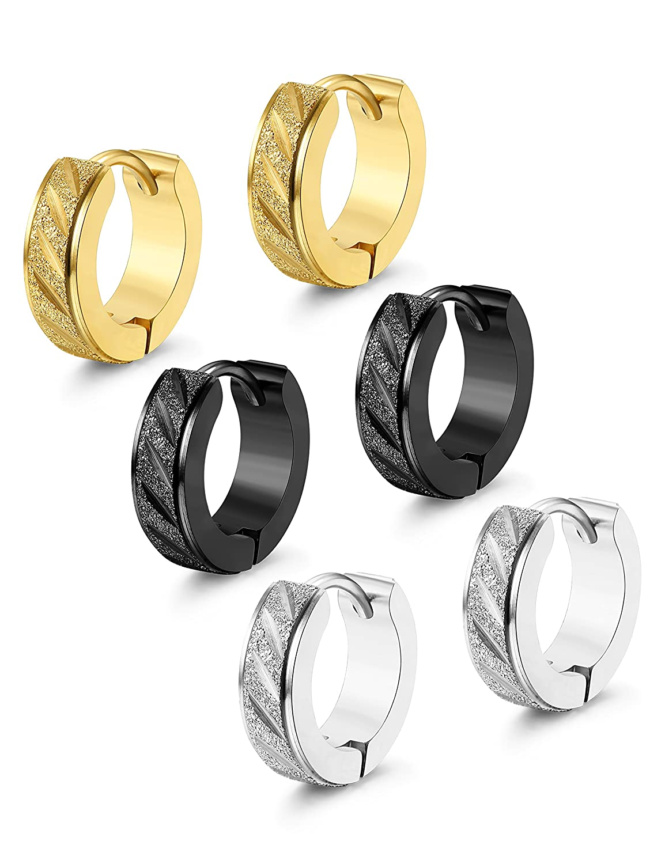 Thunaraz 3-4 Pairs Stainless Steel Small Hoop Earrings for Men Women Ear Piercing, 13MM