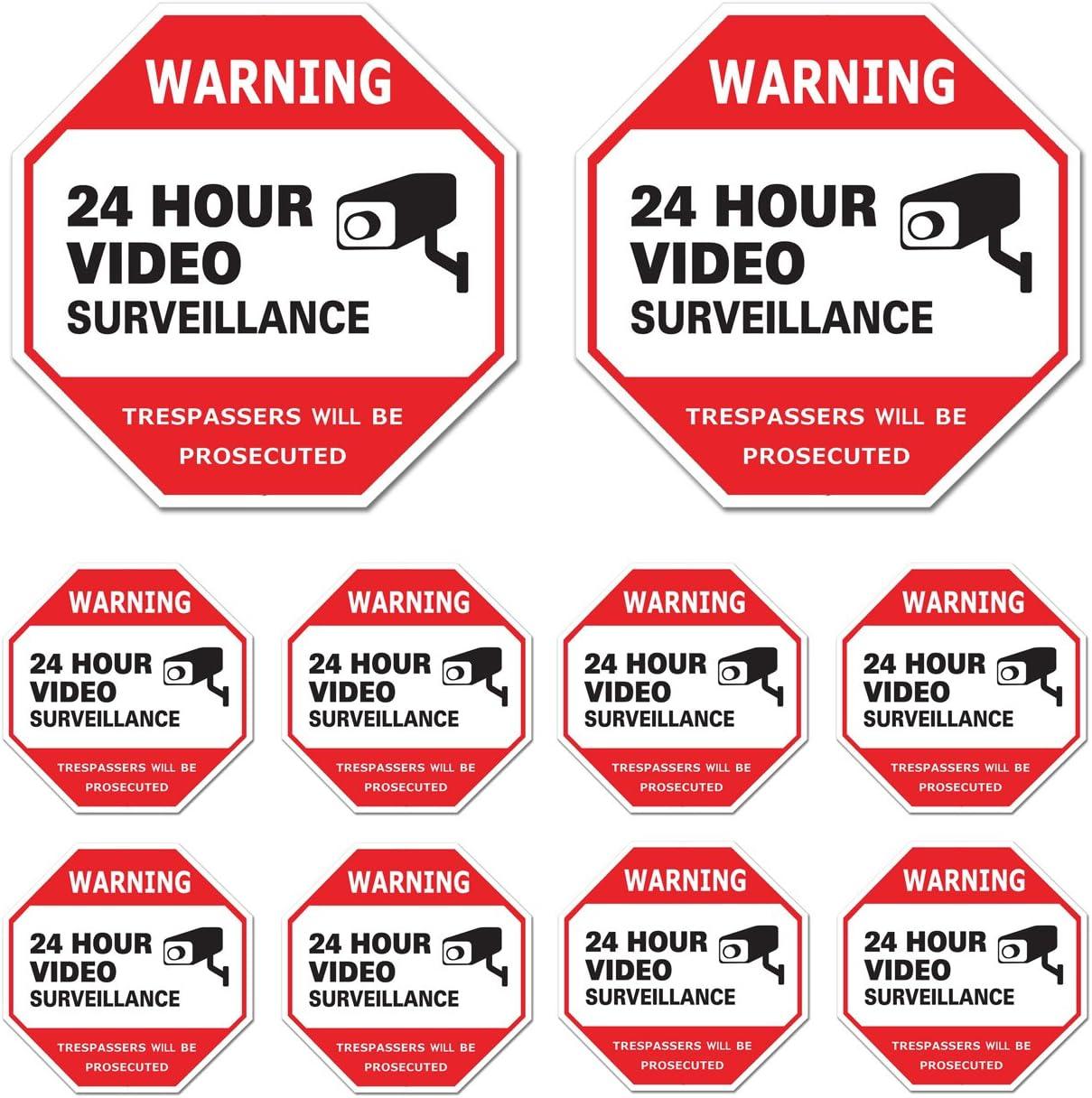 Video Surveillance Sign 10 Pack, CCTV 24 Hour Warning Sticker Door Window Yard Sign, Indoor & Outdoor Use (2-6x6, 8-3x3 Decal)