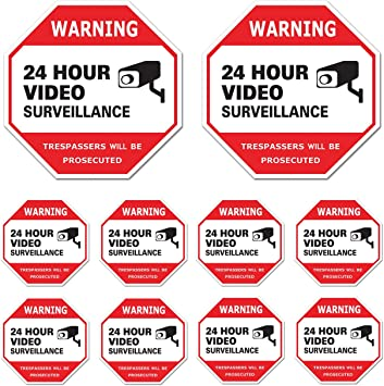HOME YARD VIDEO SECURITY CAMERA WARNING STICKER LOT **US SELLER!**