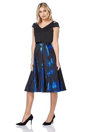 Roman Originals Damen Blumen Jacquard Fit and Flare Kleid Königsblau:  Amazon.de: Bekleidung
